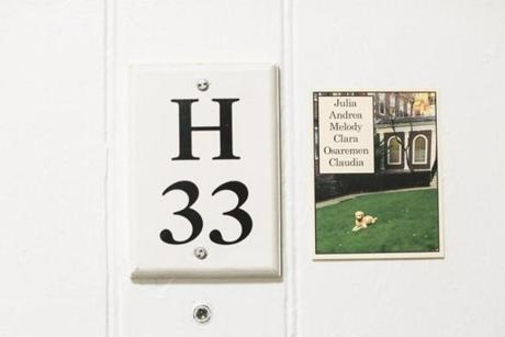 A plaque for room H-33 hung next to the names of residents in Harvard's Kirkland Hall. The room is where Facebook founder Mark Zuckerberg lived when he attended Harvard.