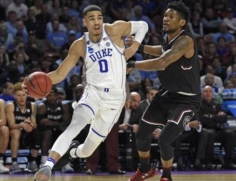 In his one season at Duke, Tatum averaged 16.8 points and 7.3 rebounds per game.