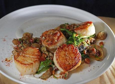 Newton , MA - 4/26/2018 - Dining Out review of Buttonwood in Newton. Pictured: New Bedford Sea Scallops - artichokes, vidalia onions, grape & almond salsa verde. - (Barry Chin/Globe Staff), Section: Lifestyle/Food, Reporter: Devra First, Topic: 02diningout, LOID: 8.4.1736541951.