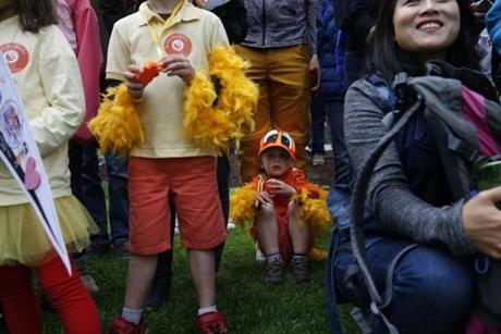 Boston, MA--5/13/2018-- A child watches as the Harvard band performs during the Duckling Day parade. (Jessica Rinaldi/Globe Staff) Topic: 14duckling Reporter: