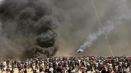 Smoke billowing from burning tires at the protest along the Gaza border on Monday.