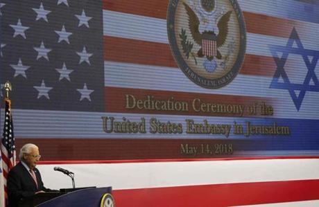 US ambassador to Israel David Friedman spoke at the embassy opening in Jerusalem on Monday.