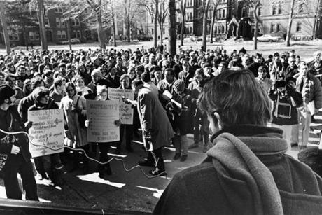 Students held a sit-in at Harvard in February 1968 to protest the Vietnam War.