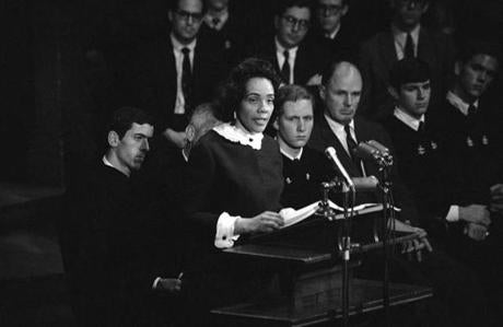Coretta Scott King addressed students at Class Day exercises in 1968. To her right is Arthur Lipkin.