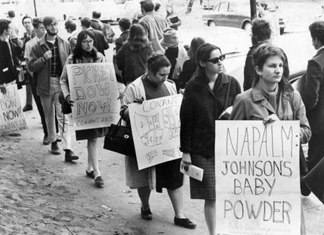 Protesters hit the streets in October 1967 when a recruiter from Dow Chemical, the maker of napalm, visited campus.