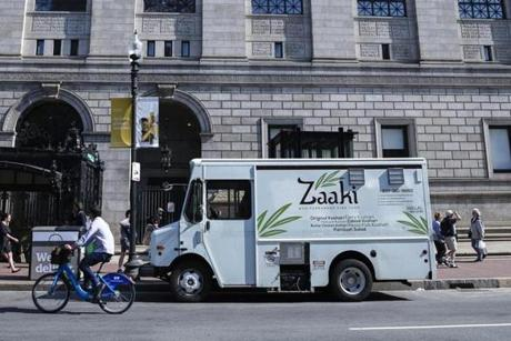 The Zaaki Food Truck in front of the Boston Public Library.