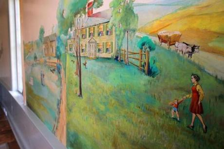 Boston, MA - 06/20/18 - A mural on an interior wall of the farm house. The 18th century Fowler Clark Epstein Farm has recently been restored and the property will now be used by the Urban Farming Institute. (Lane Turner/Globe Staff) Reporter: (Marek Mazurek) Topic: (21historicfarm)