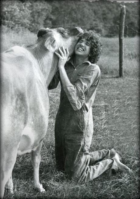 The author with Tree Frog Farm's beloved cow Lady.