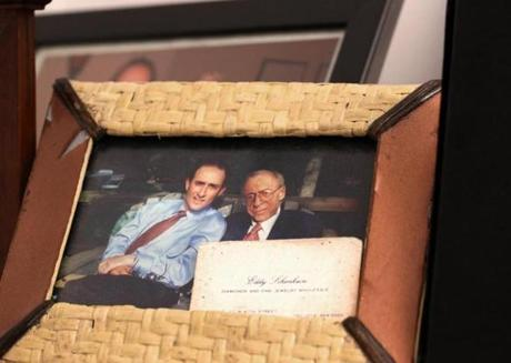 Cambridge, MA - July 10, 2018: CEO David Schenkein displays a photo of himself, left, and his late father, Eddy Schenkein, in his office at Agios Pharmaceuticals Inc. in Cambridge, MA on July 10, 2018. (Craig F. Walker/Globe Staff) section: business reporter: