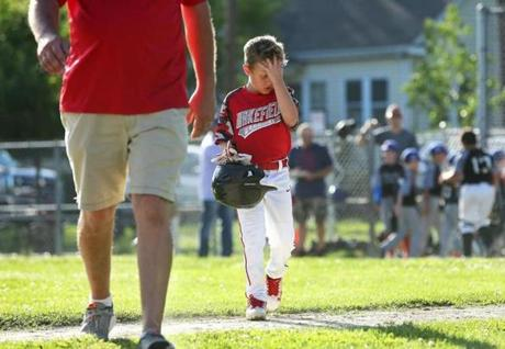 Josh Hubert walked back to the dugout after a play against Reading on July 24.