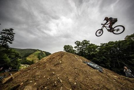 """In the """"Best Whip"""" competition, riders use specially built jumps to launch into the air."""