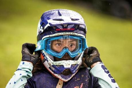 Samantha Soriano could have used windshield wipers on her goggles.