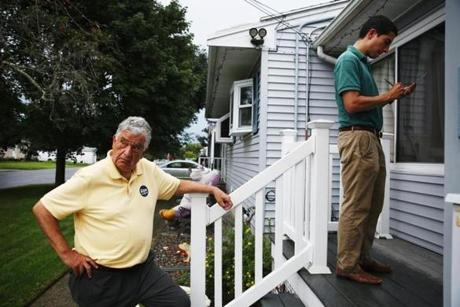 Haverhill Mayor Fiorentini (left) canvassed with candidate Dan Koh (right) in a neighborhood in the city of Haverhill.