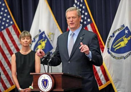 BOSTON, MA - 7/13/2018: Governor Charlie Baker with Secretary of Health and Human Services Marylou Sudders on the left joined others to announce the filing of a supplemental budget for Fiscal Year 2018 that will invest in public education and school safety. (David L Ryan/Globe Staff ) SECTION: METRO TOPIC 14baker