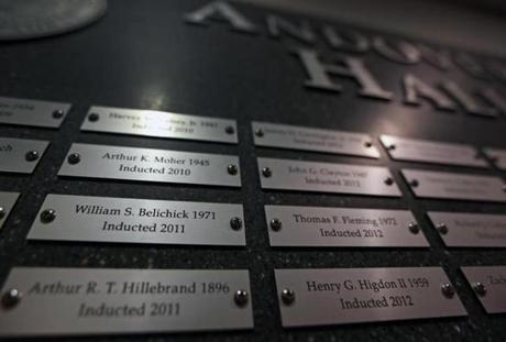 Bill Belichick's full name on his Hall of Fame plaque at Phillips Academy.