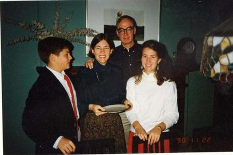 Warren celebratedthe holidays with, from left, her son, Alex; husband, Bruce Mann; and daughter, Amelia.