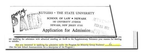 "At Rutgers University, where she attended the law school, Warren said ""no"" when asked whether she wanted to apply to a program for minority students."