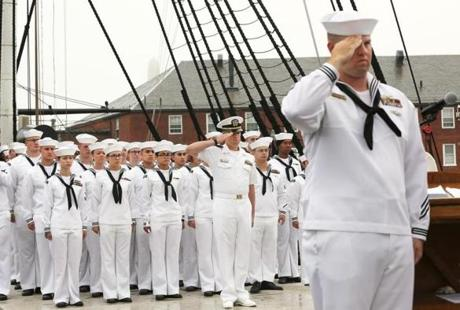 Boston, MA - 9/11/18 - Sailors salute the Colors, as the National Anthem is played. The USS Constitution holds a 9/11 remembrance ceremony, with one-gun salutes marking moments planes hit and towers fell. Photo by Pat Greenhouse/Globe Staff Topic: 12nineeleven Reporter: XXX