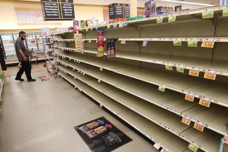 Bread shelves at a Myrtle Beach grocery store stood empty as people stocked up on food.