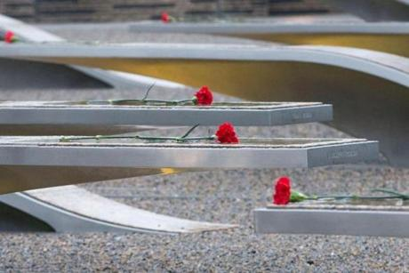 Flowers are seen at the National 9/11 Pentagon Memorial.
