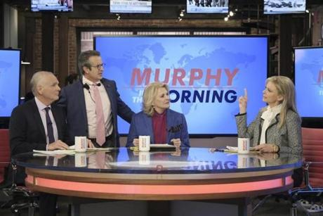 """Fake News""--""Fake News""--Multiple Emmy Award winner Candice Bergen returns as the eponymous broadcast news legend in the revival of the groundbreaking comedy series MURPHY BROWN, which premieres Thursday, Sept. 27 (9:30-10:00 PM, ET/PT) on the CBS Television Network. Pictured L-R: Joe Regalbuto as Frank Fontana, Grant Shaud as Miles Silverberg, Candice Bergen as Murphy Brown, and Faith Ford as Corky Sherwood Photo: Jojo Whilden/CBS Ì?å©2018 CBS Broadcasting, Inc. All Rights Reserved 23FallTv ÒMurphy BrownÓ (CBS)"