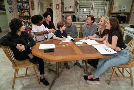 "THE CONNERS - The Conners reunited with the official start of production today on the Warner Bros. lot. (ABC/Eric McCandless) SARA GILBERT, JAYDEN REY, MICHAEL FISHMAN, AMES MCNAMARA, JOHN GOODMAN, LAURIE METCALF, LECY GORANSON, EMMA KENNEY 23FallTv ""The Conners"" (ABC)"