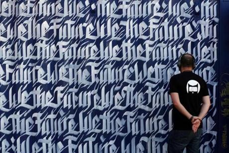 "A container mural by Sneha Shrestha is part of the public art exhibition ""We The Future"" during HUBweek."
