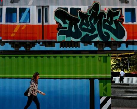 "A container mural by artist Deme Phive is part of the public art exhibition ""We The Future"" on display during HUBweek."