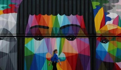 "A container mural by featured artist Okuda San Miguel is part of the public art exhibition ""We The Future"" on display during HUBweek."