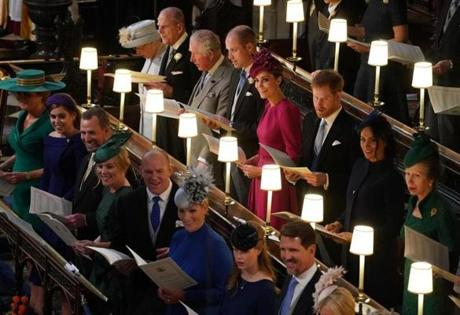 WINDSOR, ENGLAND - OCTOBER 12: Back (L-R) Queen Elizabeth II, Prince Philip, Duke of Edinburgh, Prince Charles, Prince of Wales, Prince William, Duke of Cambridge, Catherine, Duchess of Cambridge, Prince Harry, Duke of Sussex, Meghan, Duchess of Sussex and Princess Anne, Princess Royal and (front L-R) Sarah Ferguson Princess Beatrice of York, Peter Phillips, Autumn Phillips, Mike Tindall, Zara Tindall Lady Louise Windsor and Crown Prince Pavlos of Greece attend the wedding of Princess Eugenie of York and Mr. Jack Brooksbank at St. George's Chapel on October 12, 2018 in Windsor, England. (Photo by Owen Humphreys - WPA Pool/Getty Images)