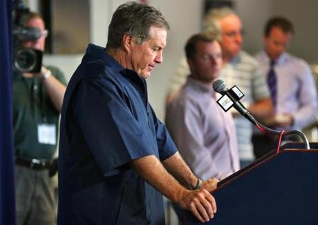 FOXBOROUGH, MA - JULY 24: New England Patriots head coach Bill Belichick speaks to the media at a press conference at Gillette Stadium. One of the topics he addressed was that of Aaron Hernandez, a former player who is charged with the murder of Odin Lloyd. (Photo by John Tlumacki/The Boston Globe)