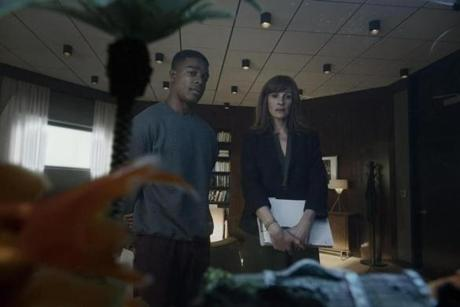 "Stephan James and Julia Roberts in Amazon's ""Homecoming."""