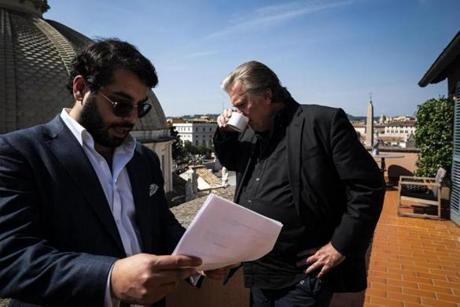Former White House chief strategist Steve Bannon with Raheem Kassam.