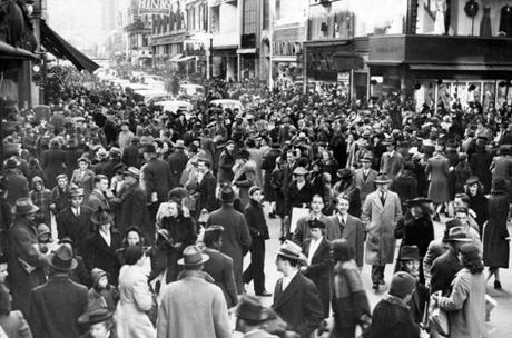 Boston, MA - 12/1/1940: The shopping crowd at the corner of Summer and Washington Streets in downtown Boston, December 1940. [Exact date unknown - estimated to month] () --- BGPA Reference: 170301_EF_021