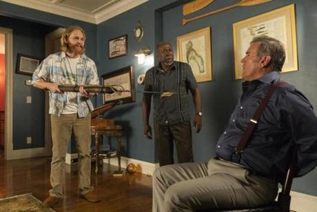 "From left, Wyatt Russell, Brent Jennings, and Bruce Campbell in AMC's ""The Lodge."""