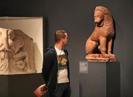 A lion sculpture from the Greek Archaic Period, about 550 B.C., on display at the Museum of Fine Arts Boston. It is believed to have been found at Perachora on the Isthmus of Corinth.