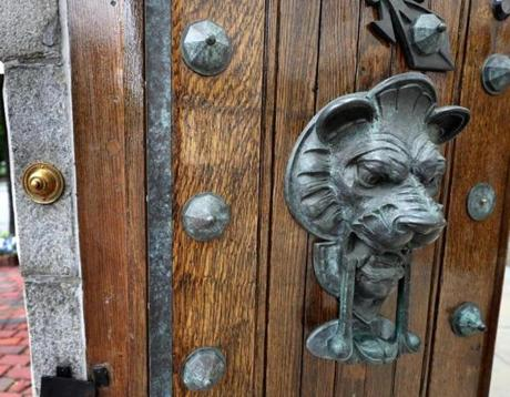 One of two lion doorknockers on the doors from the home of John Singleton Copley on Beacon Hill.