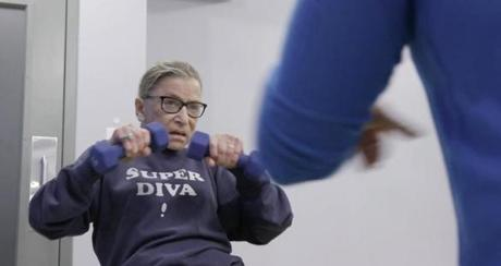 7. Justice Ginsburg mid workout routine in RBG, a Magnolia Pictures release. Photo courtesy of Magnolia Pictures/ CNN Films.