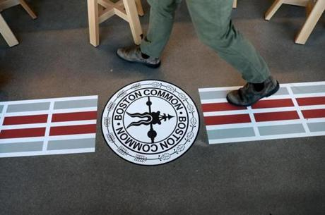 CAMBRIDGE, MA - 1/07/2019: The Freedom Trail is painted on the floor around the office. Facebook preparing to open a large office in Kendall Square with space for hundreds of additional workers. (David L Ryan/Globe Staff ) SECTION: BUSINESS TOPIC 09facebook