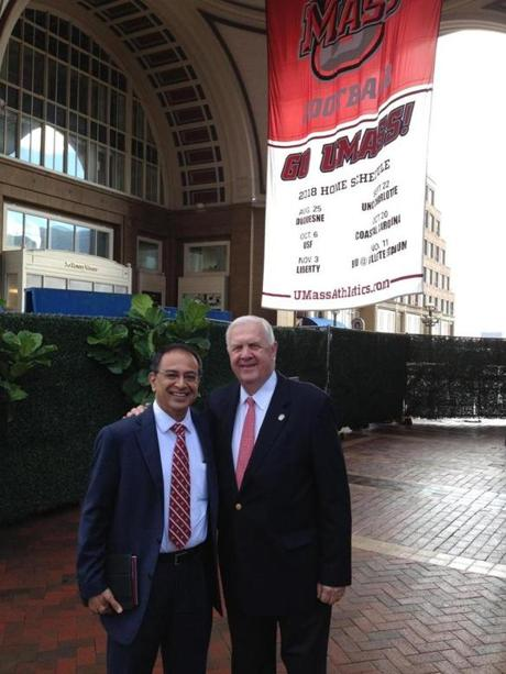 UMass alum and hotel executive Rick Kelleher had the UMass Amherst football banner hung outside the Boston Harbor Hotel recently to welcome Kumble Subbaswamy for a breakfast meeting