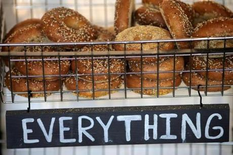 Lynn, MA - 09/13/18 - Freshly baked bagels at One Mighty Mill in Lynn. The small cafe mills it's own wheat, sourced in New England, with two hand-made milling stones. (Lane Turner/Globe Staff) Reporter: (Kara Baskin) Topic: (13conley)