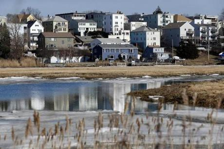 East Boston, MA, 02/4/2019 -- Houses are seen from Belle Isle Marsh, the last remaining salt marsh in Metro Boston. (Jessica Rinaldi/Globe Staff) Topic: 05wetlands Reporter: