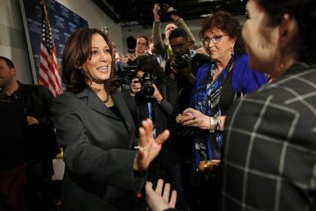 "MANCHESTER, NH - February 19, 2019: - Presidential Candidate, United States Senator Kamala Harris speaks with an attendee during ""Politics & Eggs"" at the New Hampshire Institute of Politics St. at Anselm College in Manchester, NH on February 19, 2019. (Craig F. Walker/Globe Staff) section: Metro reporter:"