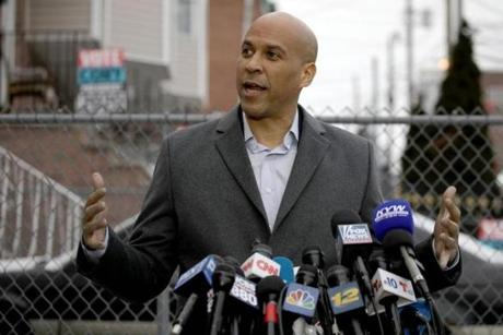 US Senator Corey Booker announces his run for US president in 2020, on February 1, 2019, outside his home in Newark, New Jersey. (Photo by Dominick Reuter / AFP)DOMINICK REUTER/AFP/Getty Images