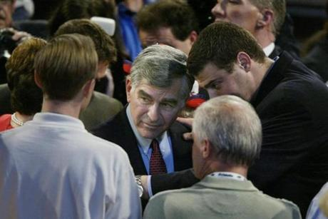 BOSTON, United States: Democratic presidential candidate of 1988 Michael Dukakis speaks with delegates at the Democratic National Convention 28 July, 2004, in Boston, Massachusetts. Dukakis lost the 1988 election to George Bush. AFP PHOTO/PAUL J. RICHARDS (Photo credit should read PAUL J. RICHARDS/AFP/Getty Images)