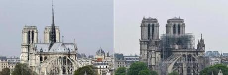 (COMBO) This combination of pictures created on April 16, 2019 shows a view (L) of the Notre-Dame de Paris Cathedral on the 'Ile de la Cite' island in the Seine river in Paris on March 28, 2014 and a view of the Notre-Dame-de-Paris Cathedral in the aftermath of a fire that devastated the cathedral on April 16, 2019. - Paris was struck in its very heart as flames devoured the roof of Notre-Dame, on April 15, 2019, the medieval cathedral made famous by Victor Hugo, its two massive towers flanked with gargoyles instantly recognisable even by people who have never visited the city. (Photos by PATRICK KOVARIK and BERTRAND GUAY / AFP)PATRICK KOVARIK,BERTRAND GUAY/AFP/Getty Images