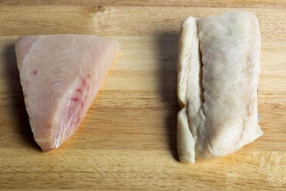 Restaurants substituted tuna (left) with escolar (right), a less expensive fish that can cause gastrointestinal problems.