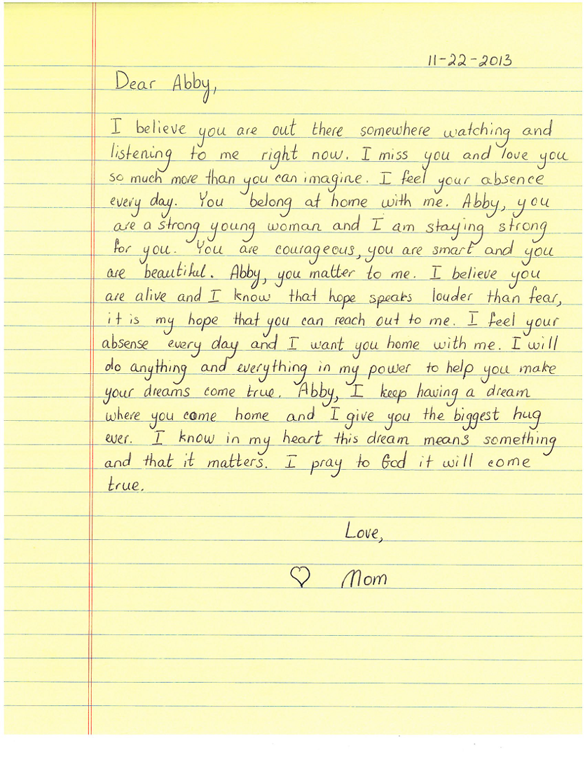 ... missing N.H. teen writes letter to daughter - Metro - The Boston Globe
