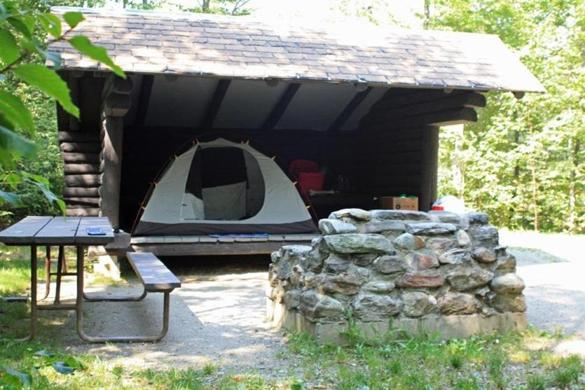 Try a log lean-to at Smugglers' Notch State Park for nature on a budget.