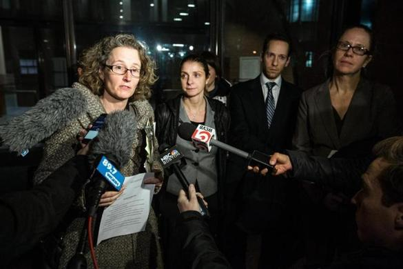Attorneys (from left) Susan Church, Heather Yountz, Matthew Segal, and Kerry Doyle spoke early Sunday outside the John Joseph Moakley United States Courthouse.
